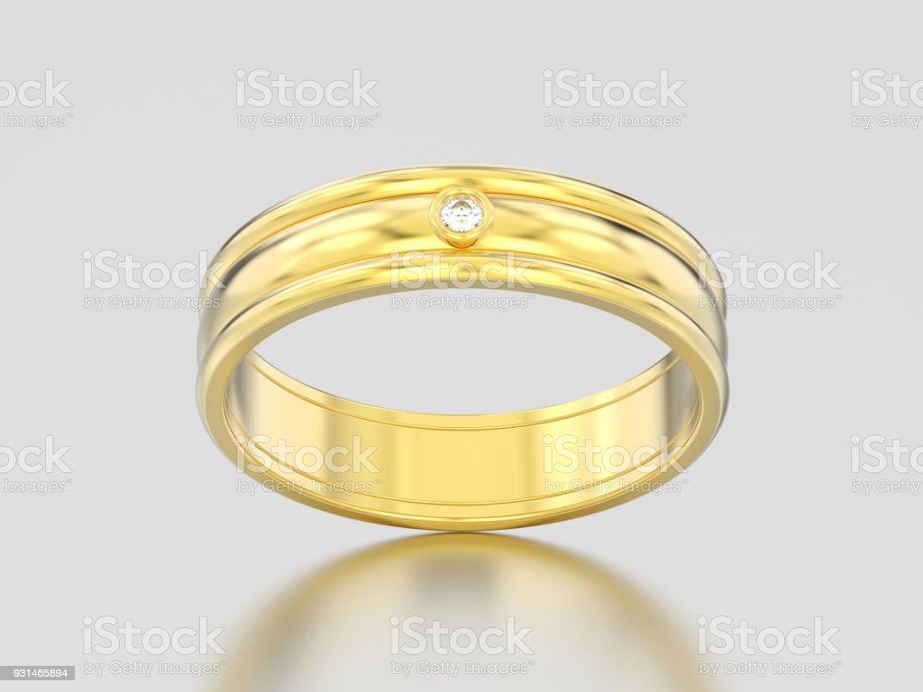 3D illustration yellow gold matching couples wedding diamond ring bands stock photo