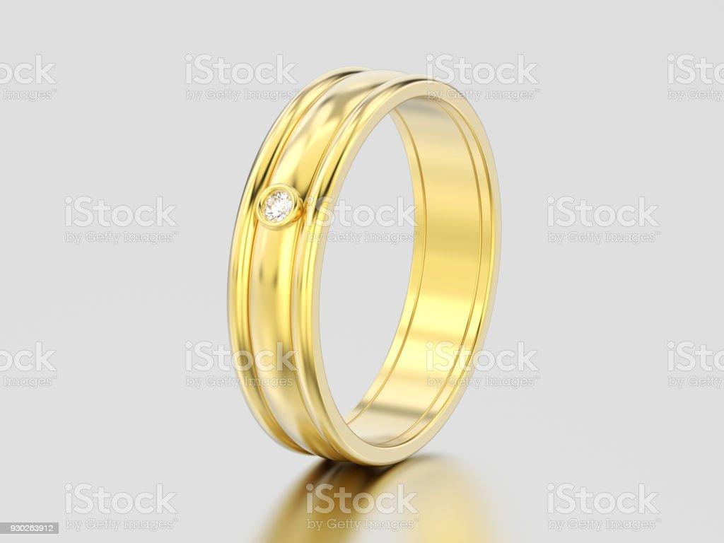 3D illustration yellow gold matching couples wedding stock photo