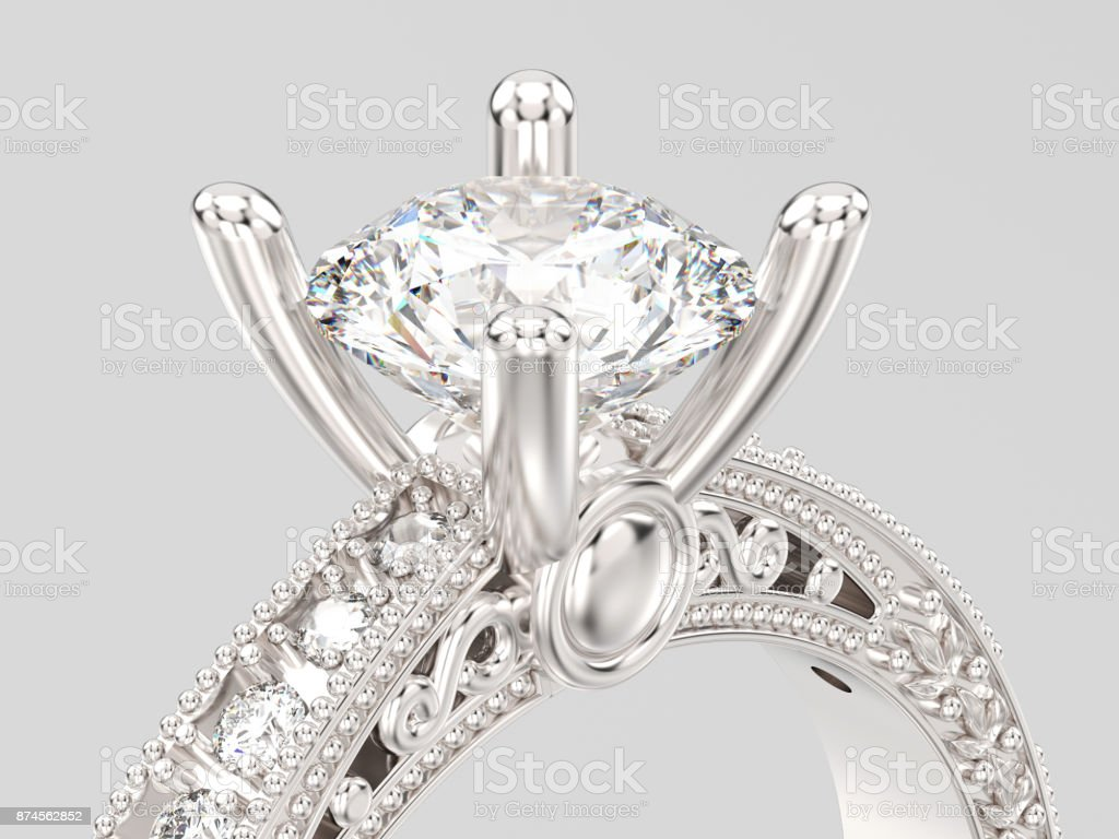 3D illustration zoom yellow gold decorative diamond ring with ornament and hearts stock photo