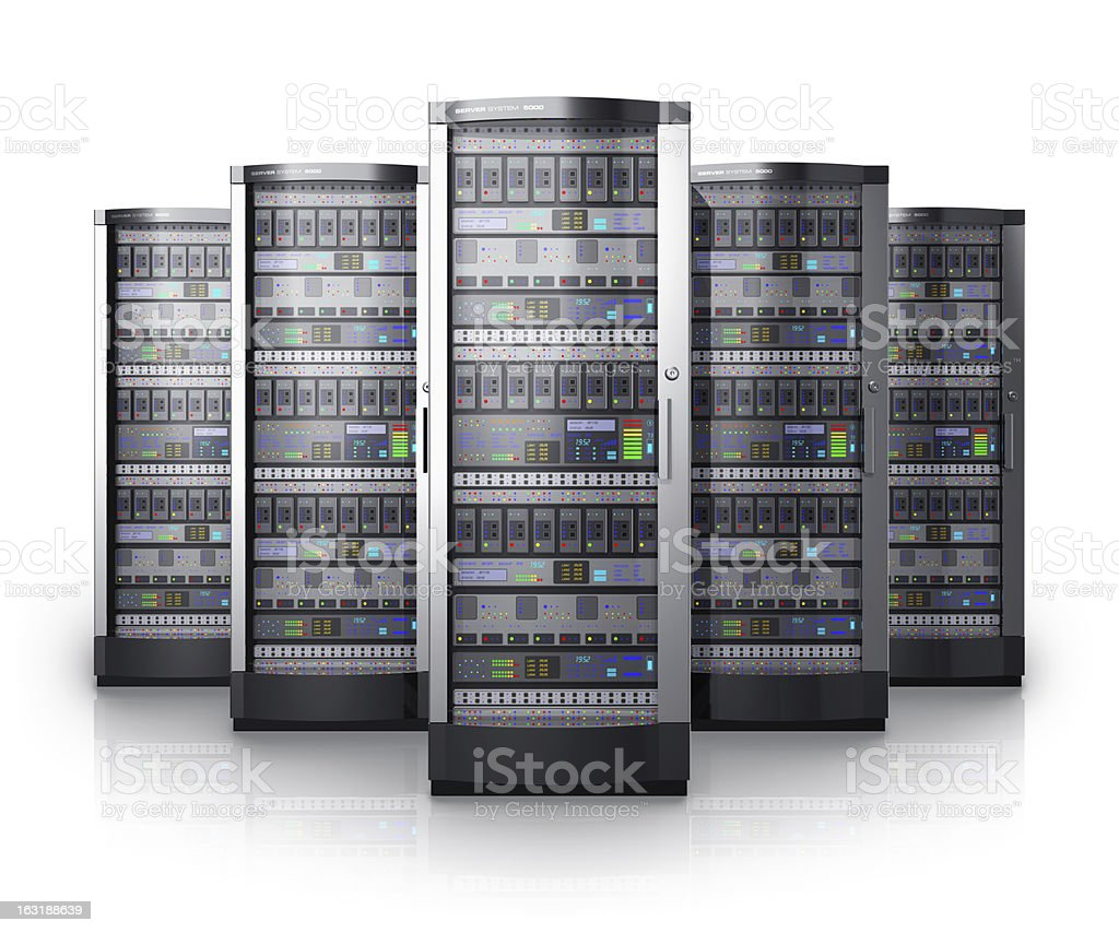 Illustrations of silver network servers from a data center stock photo