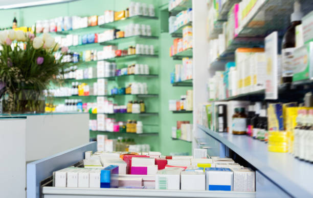 Illustraton of cupboards with medicines in the apothecary. stock photo
