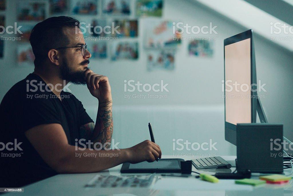 Illustrator At Work. stock photo