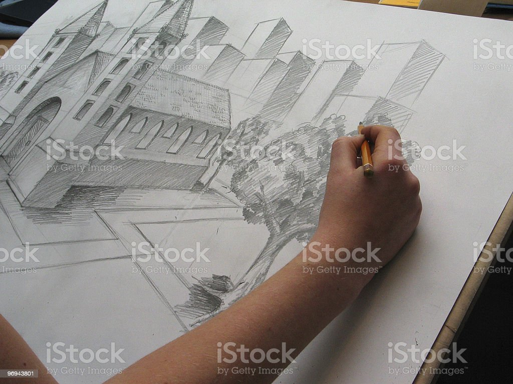 illustrator at work royalty-free stock photo