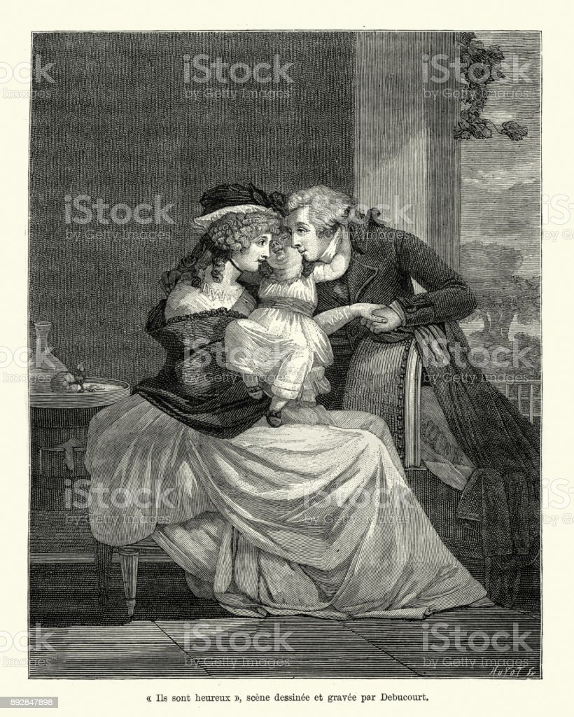 Ils sont heureux, Happy Family, French early 19th Century stock photo