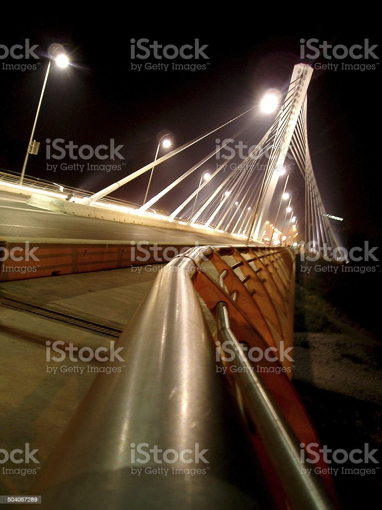Iluminated bridge stock photo
