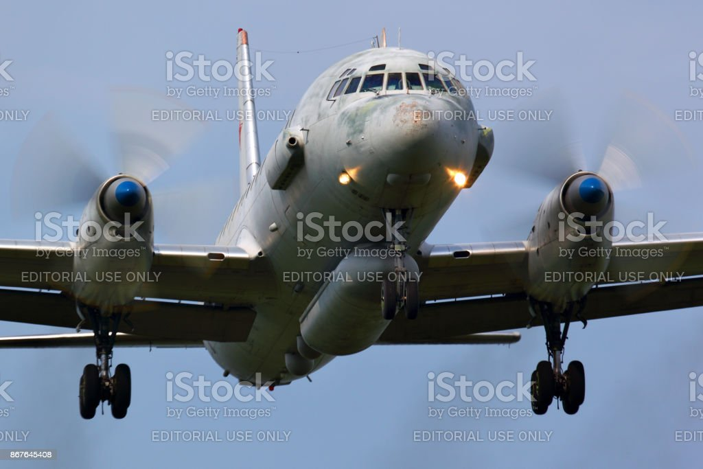 Ilyushin IL-20 of russian air force landing at Kubinka air force base. stock photo