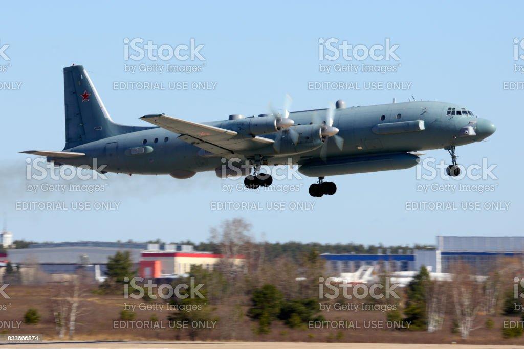 Ilyushin Il-20M 90924 reconnaissance airplane takes off at Zhukovsky. stock photo
