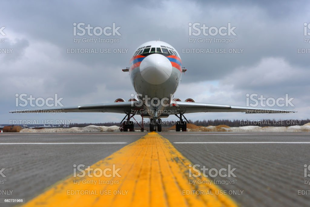 Ilyushin IL-62M RA-86570 of Ministry of Emergency Situations of Russia at Domodedovo international airport. stock photo