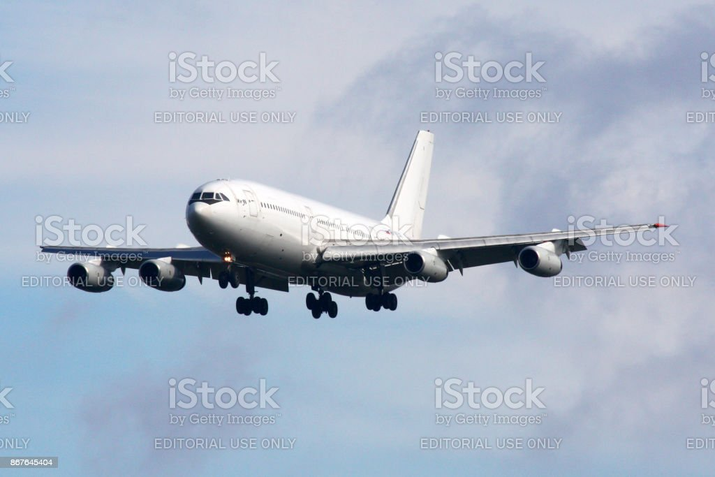 Ilyushin Il-86 of Donavia landing at Sheremetyevo international airport. stock photo