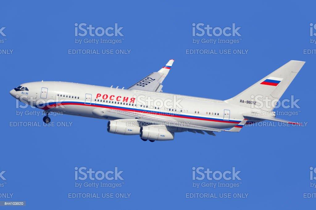 Ilyushin IL-96-300 RA-96012 of Russian State Transport Company landing at Vnukovo international airport. stock photo