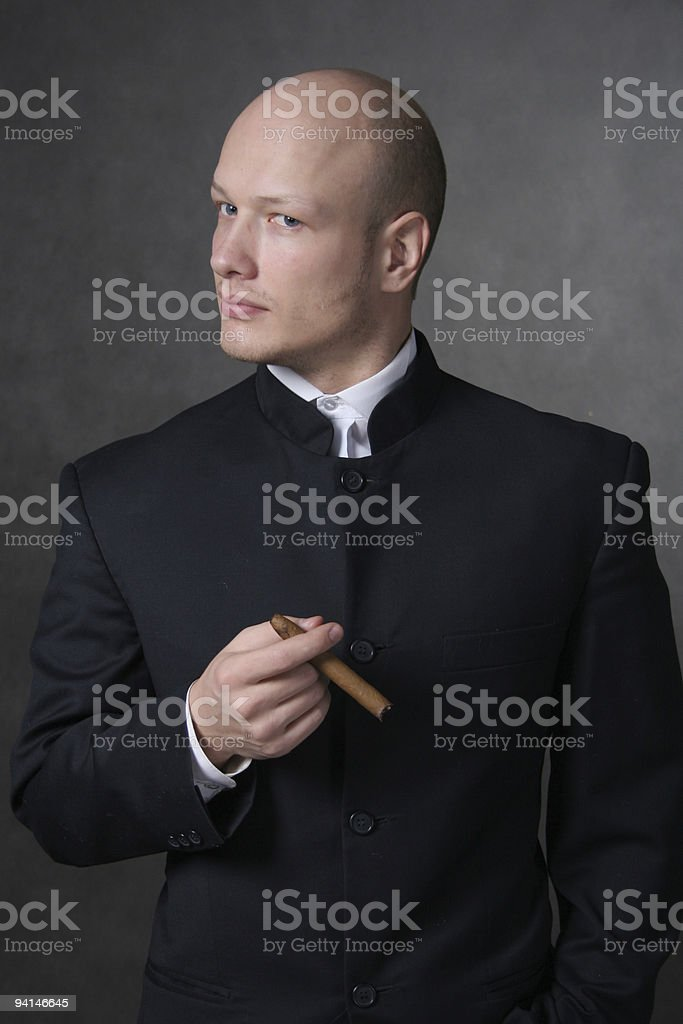 i'm boss. A man in a suit and with a cigar stock photo