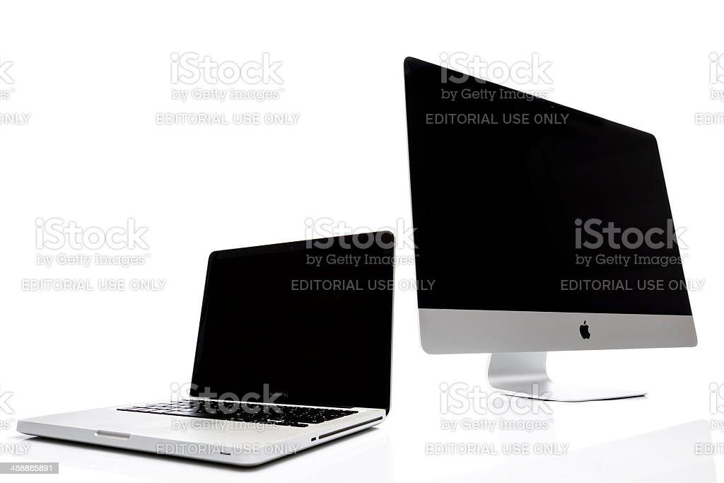 iMac and Macbook Pro stock photo