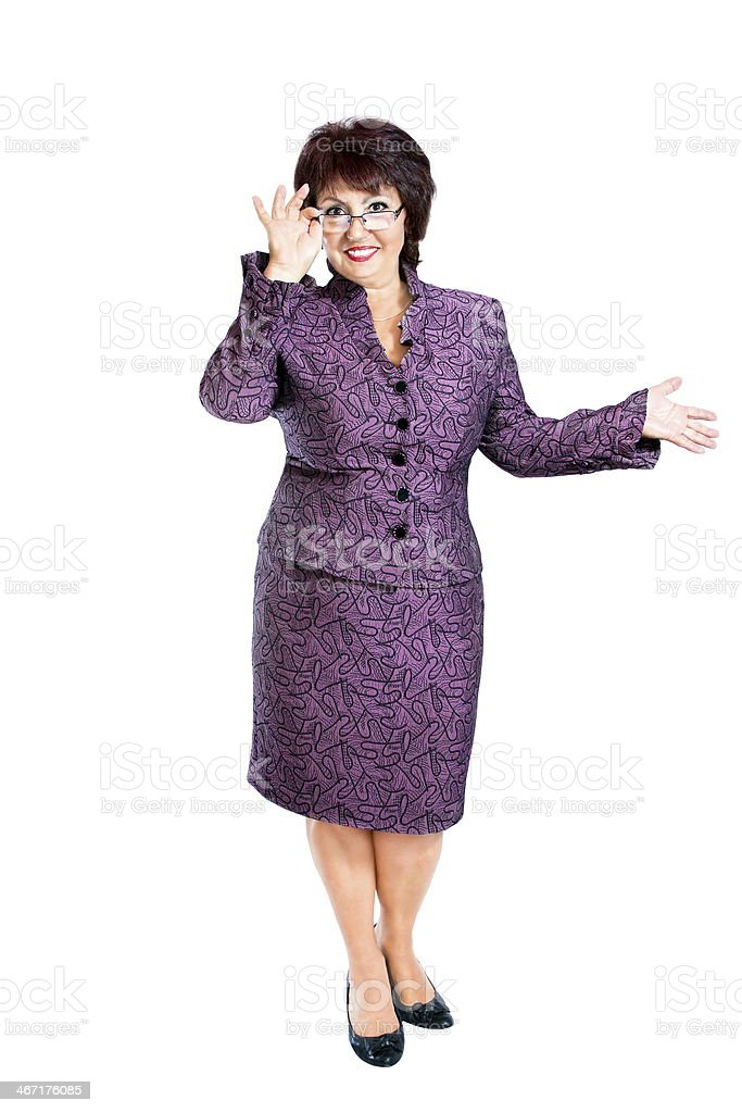 image adult woman with glasses in hands stock photo