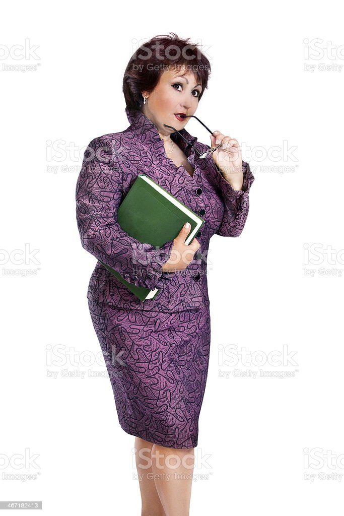 image adult woman with glasses in hands royalty-free stock photo