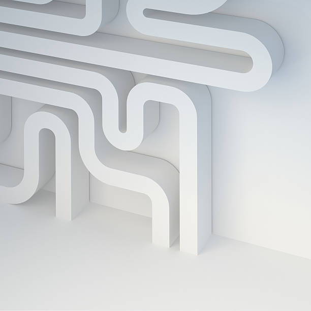 Image and association: microcircuit, pipeline, labyrinth, intestine. stock photo
