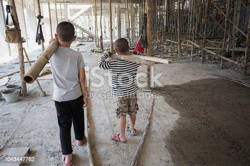 Image Blur Poor Children Working At Construction Site ...
