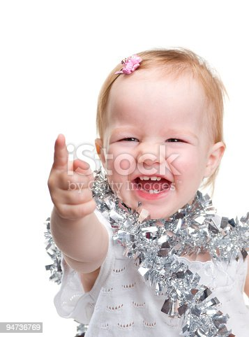 istock Image cute baby with Christmas decoration 94736769
