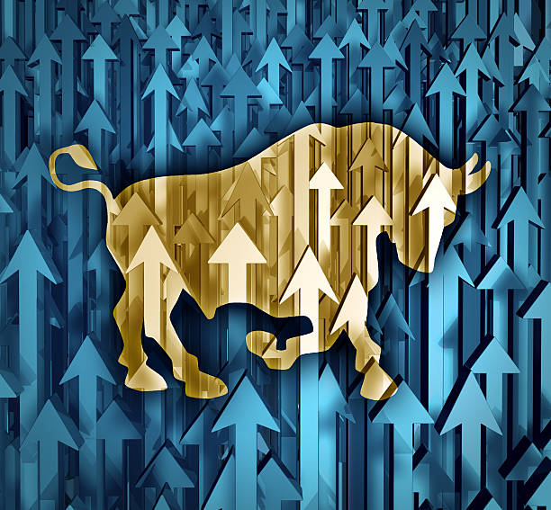 Image depicting the bull market on the rise  Bull market business concept with a group of organized arrows going up as investor confidence in stock trading predicting future price increasesas a financial symbol of profits. bull market stock pictures, royalty-free photos & images