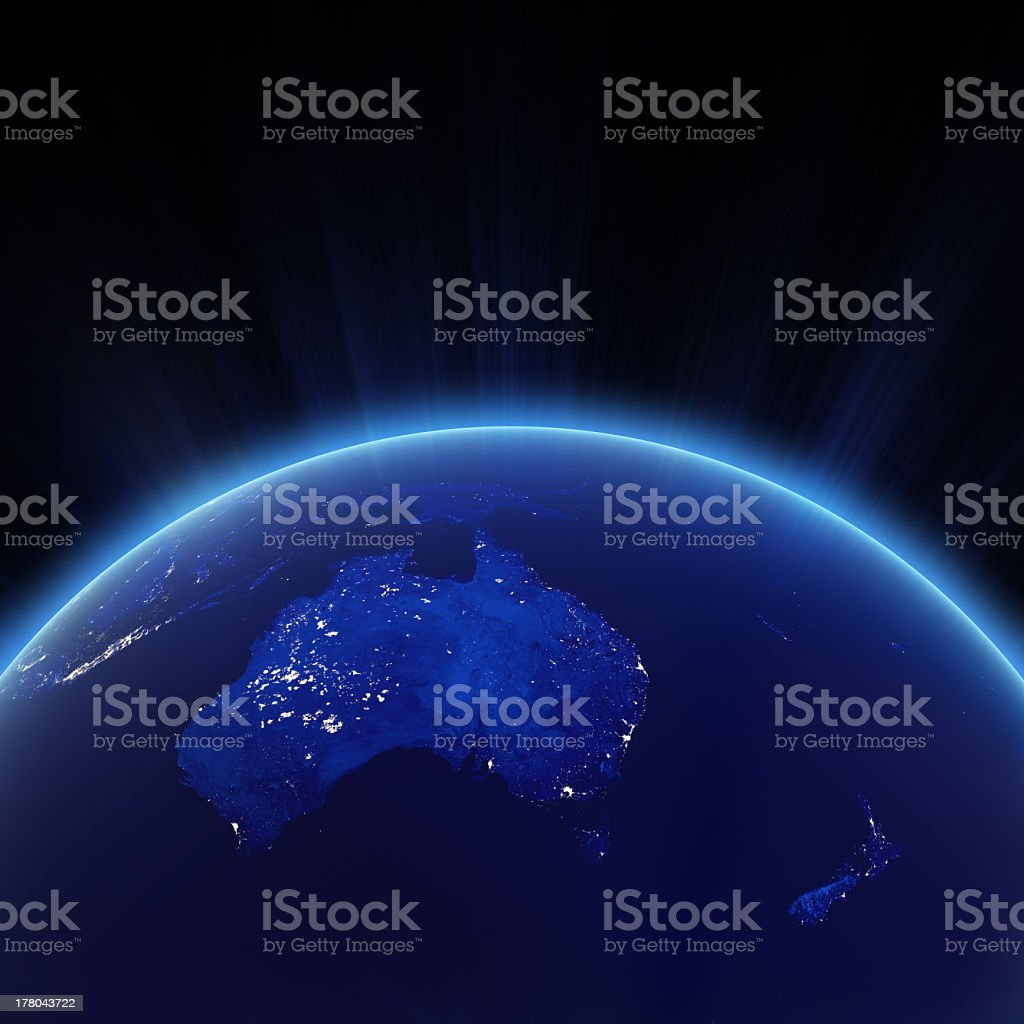 Image from space of city lights of Australia and New Zealand stock photo