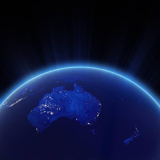 Australien und Neuseeland-Lichter der Stadt bei Nacht – Foto