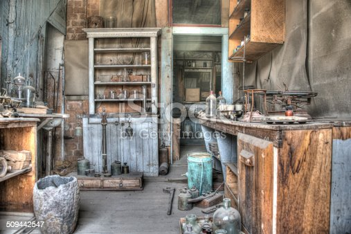 HDR Image of the Inside of an old deserted house in the Ghost town and old mining village of Bodie California