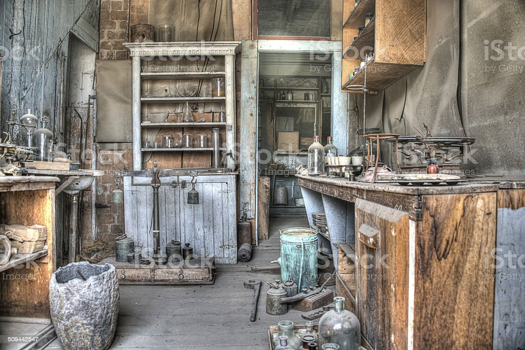 HDR Image Inside workshop Ghost town old mining village Bodie stock photo