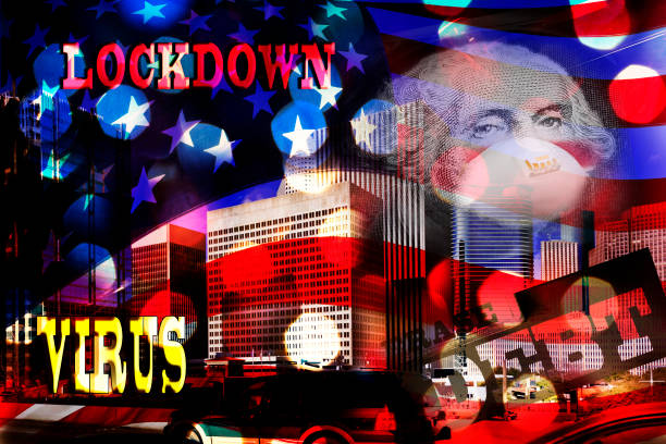Image Montage of American Flag, Houston Texas business district, president wearing mask, debt, Covid-19 Image Montage using various Covid-19 reminders.  Washington wearing a face mask, text saying virus, lock down and debt.  American flag, night lights, all over buildings in downtown Houston, Texas. covid stock pictures, royalty-free photos & images