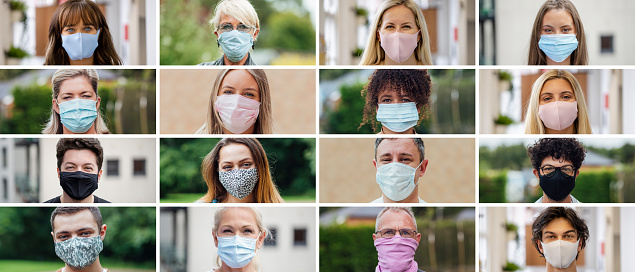 Image montage of a variety of close-up images of people looking at the camera while wearing masks. There are multiple types of masks, ethnicity's and ages.