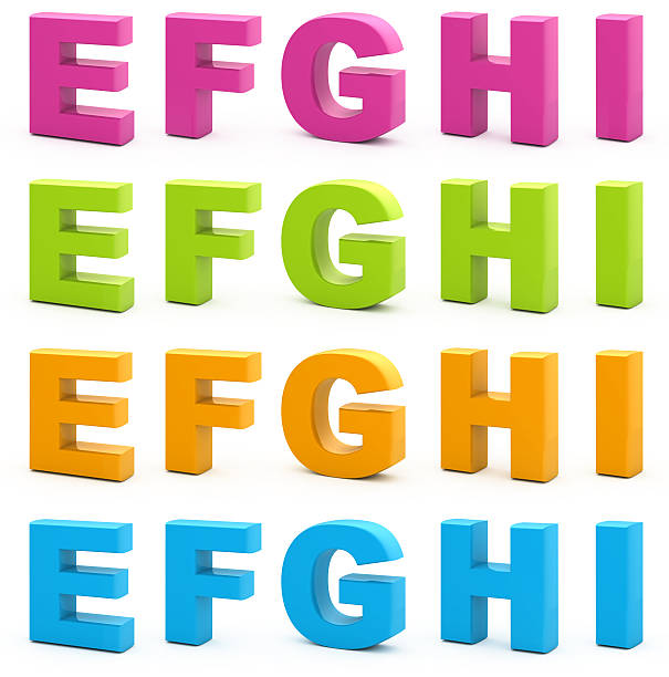 Image of 3D alphabet letters in different colors stock photo
