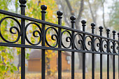 istock Image of a Beautiful decorative cast iron wrought fence with artistic forging. Metal guardrail close up. 1181902989