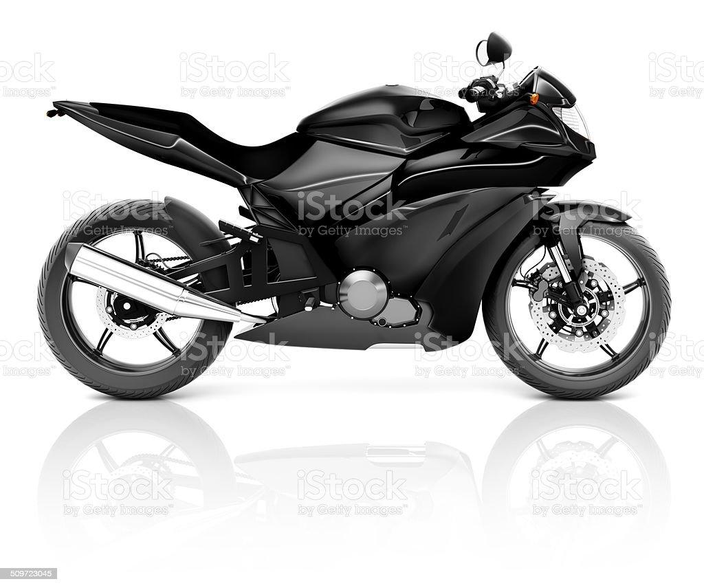 3D Image of a Black Modern Motorbike stock photo