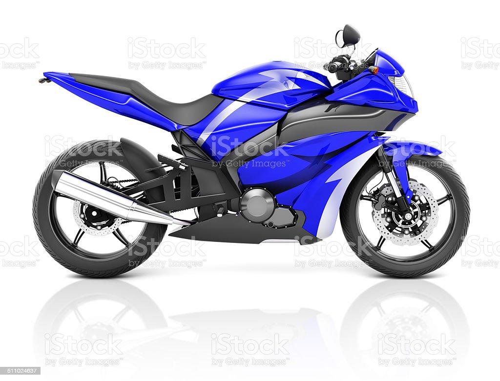 3D Image of a Blue Modern Motorbike stock photo