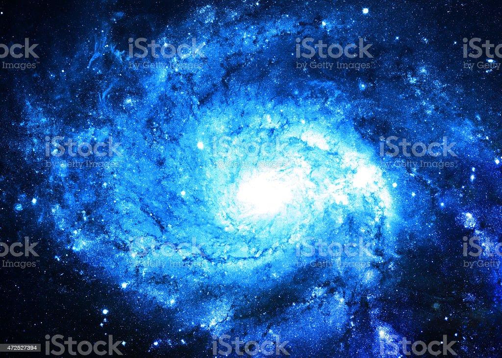 NASA image of a blue spiral galaxy stock photo