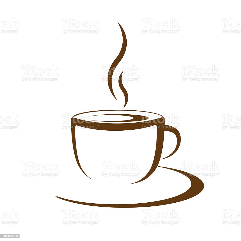 Image of a brown hot cup of coffee stock photo