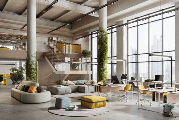 3d image of a environmentally friendly office space - living a sustainable lifestyle stock pictures, royalty-free photos & images