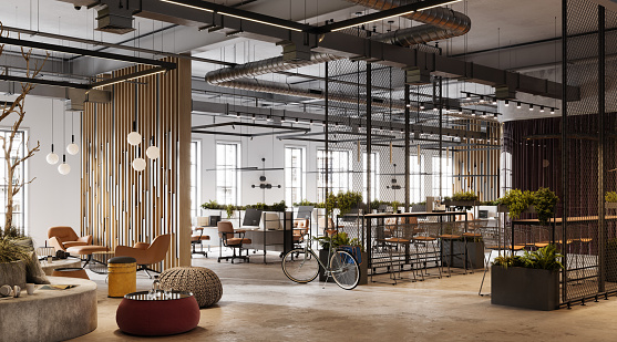 Three dimensional generated image of an office space with a bicycle. 3D image of a environmentally friendly office space.