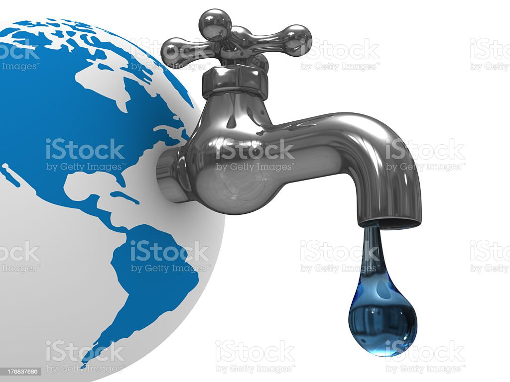 Image of a faucet dripping water attached to Earth royalty-free stock photo