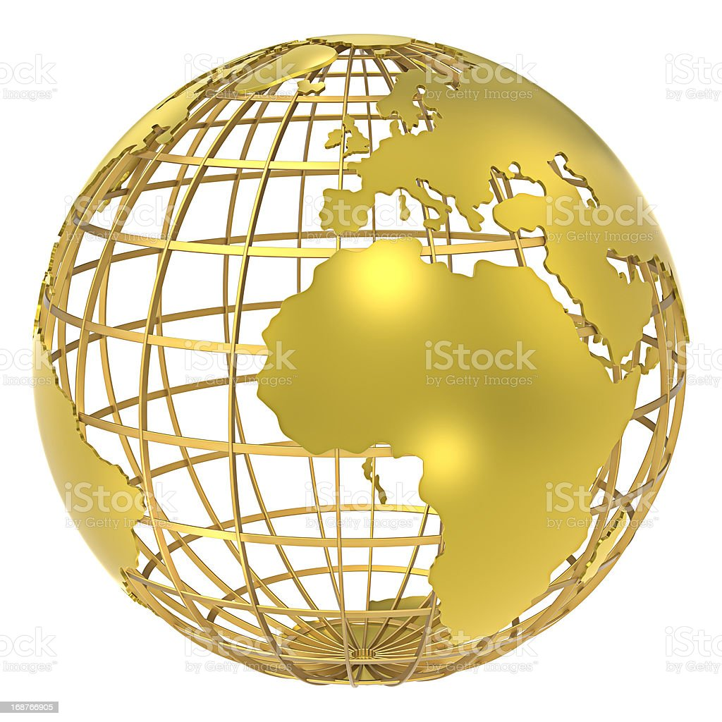 Image of a hollow golden globe stock photo