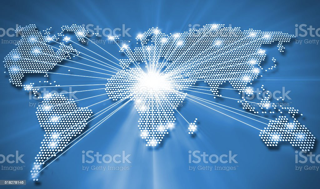 Image of a light blue world map stock photo