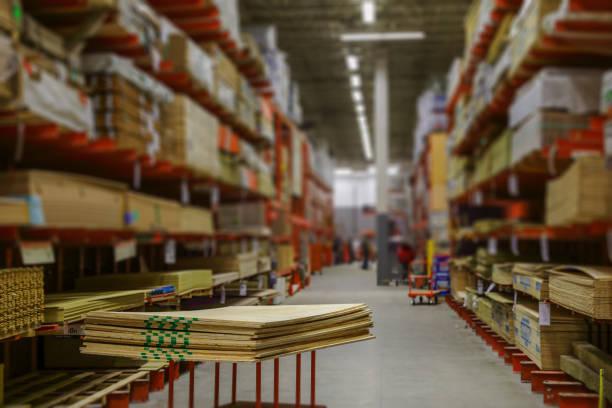 image of a lumber supply store blurry tilt shift effect - material de construção imagens e fotografias de stock