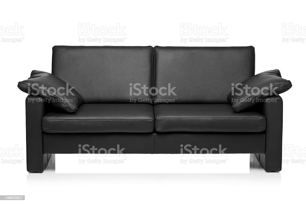 Image of a modern black leather sofa royalty-free stock photo
