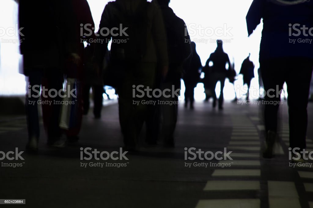 Image Of A Moment After Disaster, Way Home By Feet stock photo