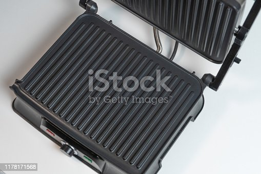 Image of a new electric barbecue on white background.