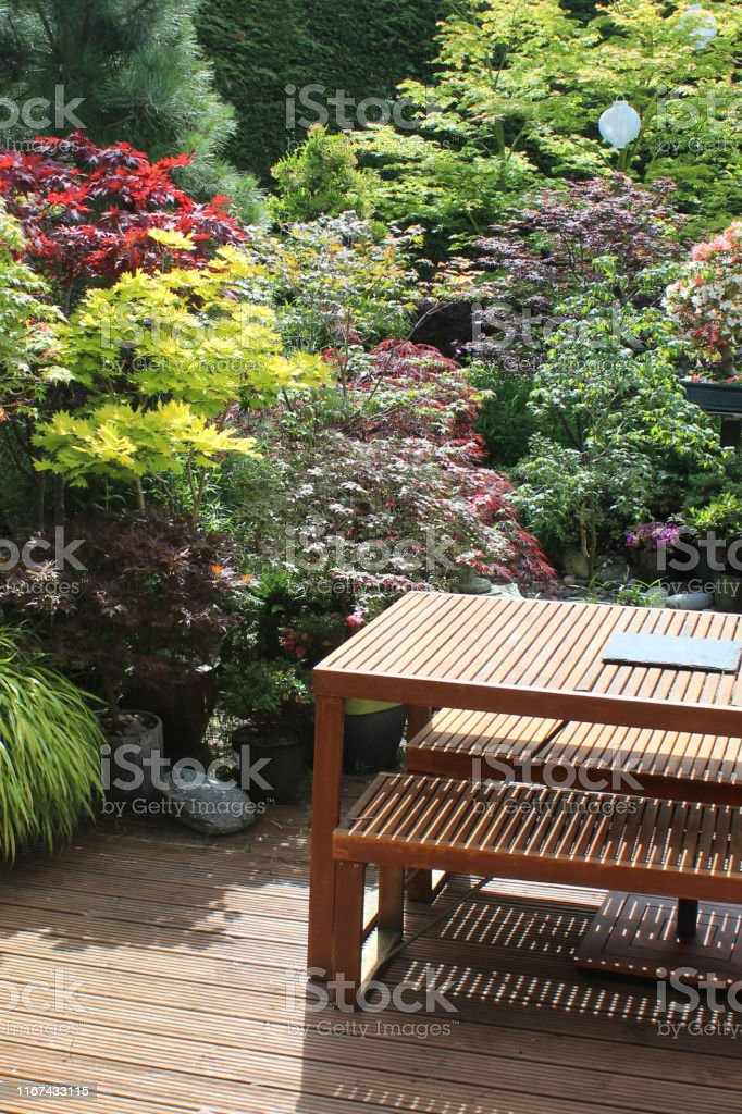 Photo showing a back yard that has been converted into a Japanese...