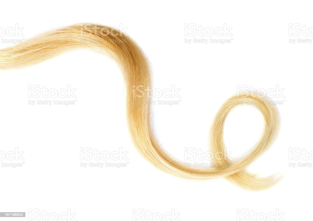 Image of a small bunch of curly blonde hair stock photo