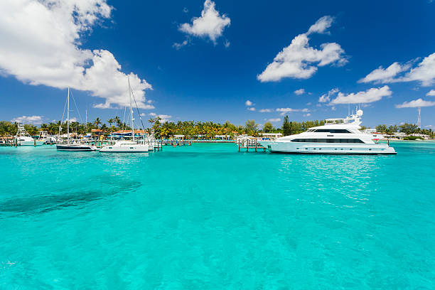 Image of a small yacht sitting on the dock. stock photo
