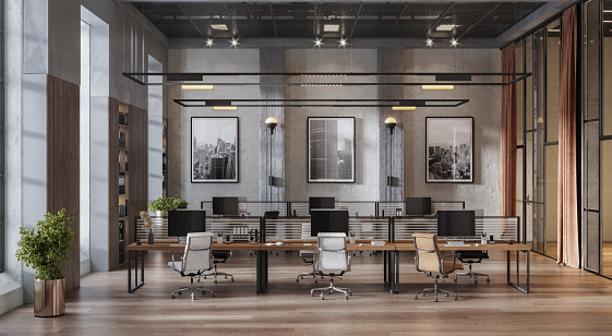 3D image of a spacious coworking office space. Computer generated image of an open plan office interior.