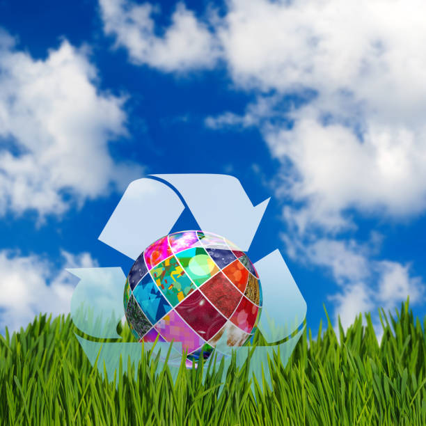 image of a stylized ball as a symbol of environmental protection - tree logo stock photos and pictures
