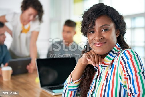 istock Image of a succesful casual business woman using laptop during 539122642