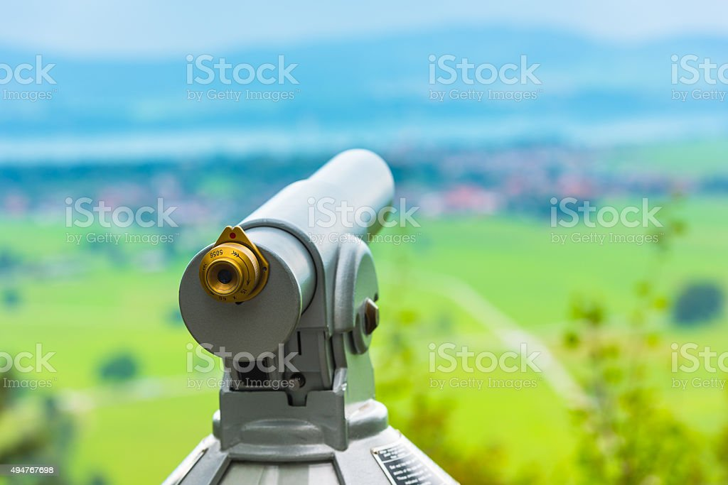 Image of a telescope overlooking for rural landscape stock photo
